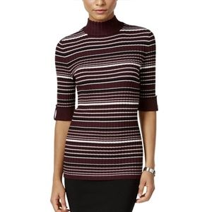 Style & Co Petite Striped Mock-Neck Sweater, PL